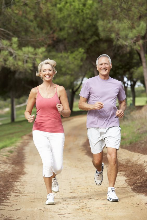 senior couple running